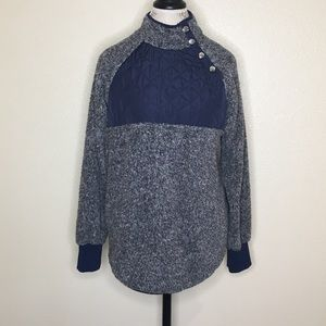 Blue Sz XL Quilted Pullover Teddy Bear Sweatshirt